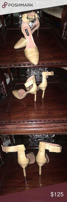 """Eel skin stilettos 👠 Beige eel skin 2 1/2"""" heel. Cigarette heel. Very slim. Ankle strap. Derek Lam Shoes Heels"""