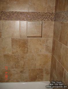 1000 images about bath room remodel on pinterest corner for Glass tile border bathroom ideas