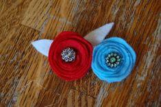 a bird and a bean: felt flower pins