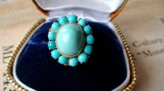 Large 18k gold antique persian turquoise by AnastasiasCloset, $525.00