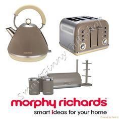 Morphy Richards Accents Barley Beige Kettle 4 Slice Toaster 6pcs Storage Set