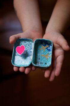 Sticker treasure tins - a sticker craft for kids