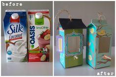 Cartons turned into bird feeders