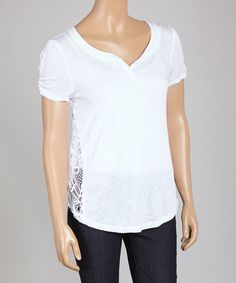 This White Sheer Lace-Back Notch Neck Tee is perfect! #zulilyfinds
