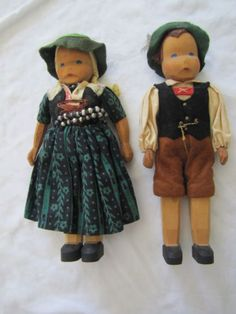 Vintage Pair of Wooden German Lotte Siever-Hahn Dolls ~ 7 Tall Wooden Figurines, Wooden Dolls, Clothespin Dolls, The Past, German, Hipster, Pairs, Vintage, How To Wear