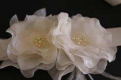 Bridal Ivory Sash Flowers with Pearls and Crystals on Etsy, $60.00