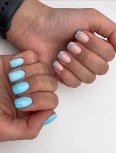 Square Gel Nails, Short Square Acrylic Nails, Short Gel Nails, Short Square Nails, Best Acrylic Nails, Sqaure Nails, French Tip Nail Designs, Square Nail Designs, French Nails