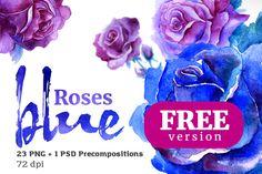 Blue Roses Floral Watercolor Set