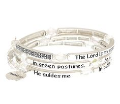 Entire Psalm 23:1-3 Scripture Silver Plated Coil Charm Bangle Bracelet * Check out the image by visiting the link.