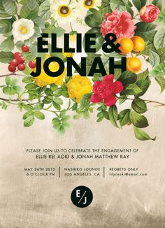 Hierarchy - This a a wedding invitation and the first thing my eyes are drawn to is the title ' Ellie & Jonah' This is because of the bold black font stands out in the midst of the contrasting colourful flowers. This then leads me to the open space with a dull washed background where more text is supported. I believe Hierarchy has been achieved well as there is clear importance of information.   http://www.printaholic.com/12-creative-wedding-invitations/  13/5/14