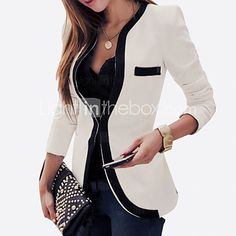 Women's Plus Size All Seasons Blazer,Color Block Long Sleeve White / Black Rayon / Polyester Medium 2017 - $27.99