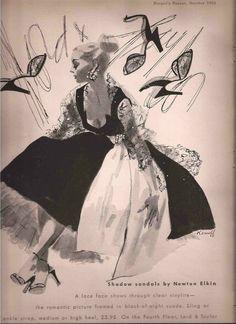 Harper's Bazaar, 1952 - Illustration by Karnoff for Lord & Taylor Vintage Fashion 1950s, Retro Fashion, Women's Fashion, Magazine Illustration, Graphic Illustration, Fashion Sketches, Fashion Illustrations, Harpers Bazaar, Lord & Taylor