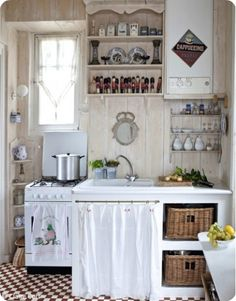 wonderful small kitchen cottage kitchens pinterest kitchens shabby and gingham - Tiny Country Kitchen Design Ideas