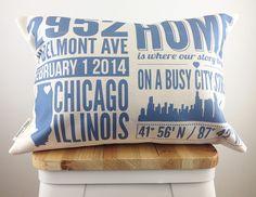 Custom Housewarming Pillow w/ Faux Down Insert by FinchandCotter