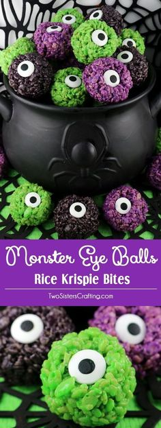 Monster Eye Balls Rice Krispie Bites - these yummy, bite-sized balls of crunchy, marshmallow-y delight have a creepy monster eye and fun Halloween colors! This is a Halloween dessert that is easy to make and even better to eat. These colorful and festiv Postres Halloween, Recetas Halloween, Dessert Halloween, Soirée Halloween, Halloween Goodies, Halloween Food For Party, Halloween Coloring, Easy Halloween Treats, Halloween Potluck Ideas