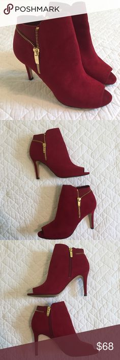 """Marc Fisher Red Serenity Booties Gorgeous Red suede booties - gold zipper hardware and detailing - peep toe - approx 3.5"""" heel - EUC (only worn once) Marc Fisher Shoes Ankle Boots & Booties"""