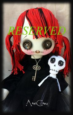This item is unavailable cute goth cloth Giuditta handmade rag doll with red hair little doll. Emo doll by AresCrea on Etsy Zombie Dolls, Scary Dolls, Ugly Dolls, Cute Dolls, Voodoo Dolls, Doll Clothes Patterns, Doll Patterns, Henna Patterns, Cute Goth