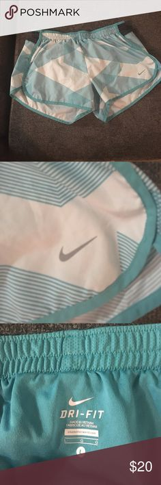 Teal running shorts Nike built in undies Never worn without under-Roos! So cute but don't run anymore. Gotta save for that lulu! No string but EUC Nike Shorts