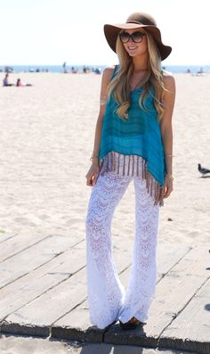Crochet pants and teal