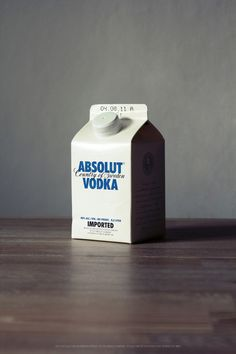 Absolut Vodka in milk carton packaging