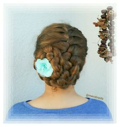 Frenchbraid rolled up to an updo