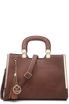aec11c2989c Side Metal Charmed Satchel Coffee. Find this Pin and more on Designer  inspired handbags by Wholesale ...