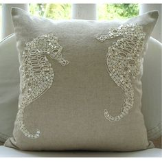 Sea Horse Pearls - Throw Pillow Covers - 20x20 Inches Linen Pillow Cover with Pearl Embroidery