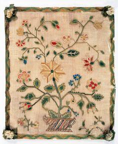 Needlework picture,Pennsylvania, Mid-Atlantic, United States, North America, 1760-1800. Linen; Silk. (inches)14.5 (H) , 11.37 (W)