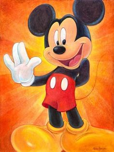 """""""Hi, I'm Mickey Mouse"""" by Bret Iwan - Limited Edition of 195 on Canvas, 20x15.  #Disney #MickeyMouse #DisneyFineArt #BretIwan"""