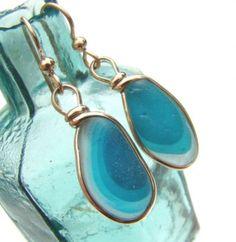 Aqua Echo -Seaham Sea Glass Earrings Goldfilled Wire Bezel©