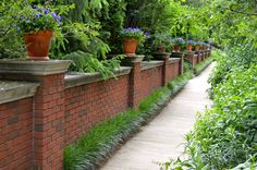 Beautiful brick fence with potted plants on top and awesome landscaping!