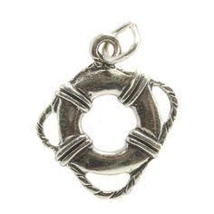 .925 Sterling Silver Life Preserver Bracelet Charm