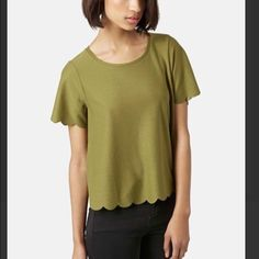 Topshop Scallop Frill Tee Topshop Scallop Frill Tee in olive green. Size US 4. WORN ONCE. Absolutely perfect condition - no snags, stains or signs of wear. Topshop Tops Tees - Short Sleeve