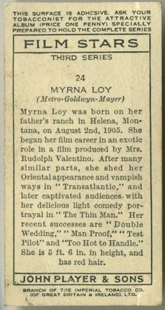 Myrna Loy ~ 1938 John Player & Sons Film Stars Tobacco Card, Series 3, #24, Reverse Side on Immortal Ephemera...