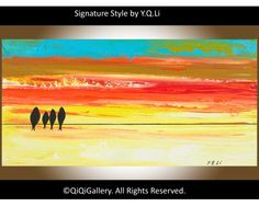 """Family Vacation Abstract Painting Landscape Painting Original Modern Painting Palette Knife Painting Birds Painting Impasto Wall Décor """"Family Vacation"""" by QiQiGallery, $85.00"""