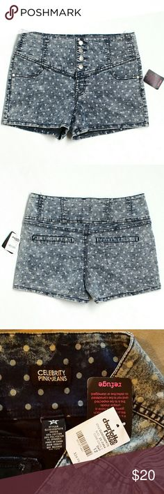 "NWT High Waist Polka Dot Jean Shorts Celebrity pink jeans by Charlotte Russe   Measurements laying flat- Length 13 1/2"" Waist 17"" stretches to 22"" Hips 20"" Inseam 3"" Rise 10""  Super stretchy with 4 button closure  #NWT #charlotterusse #blue #white #blueandwhite #soft #silky #comfy #shorts #spring #summer #boho #beach #bonfire #swim #vacation #holiday #party #event #Jean #Denim #polkadots #dots #spandex #chambray #highwaist #highrise  M4 Charlotte Russe Shorts Jean Shorts"