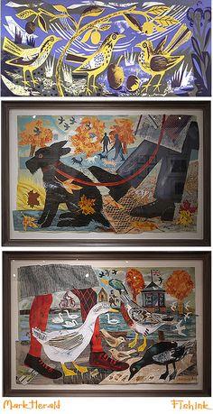 Mark Hearlds' New work. Art Challenge, Linocut Prints, Art Club, Bird Art, Watercolor Illustration, Love Art, Painting Inspiration, Collage Art, Art For Kids