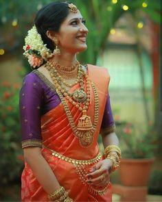 57 Ideas South Indian Bridal Lehenga Blouse Designs For 2019 Kerala Hindu Bride, Kerala Wedding Saree, Bridal Sarees South Indian, South Indian Bridal Jewellery, Wedding Silk Saree, Indian Bridal Fashion, Indian Bridal Wear, Bride Indian, Bridal Jewelry