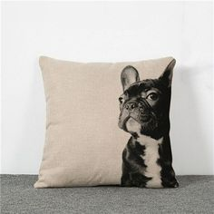Pillowcase Laughing Cat Dog Cotton Linen Cushion Bull Terrier Animal Sofa Printed 18x18 Inches Home Decorative Euro Pillow Cover