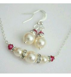 Pearl Crystal Set Of Neck Chain And Ear Rings