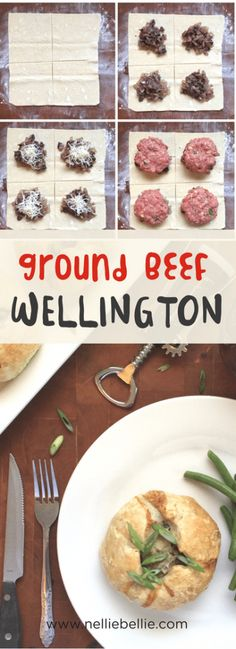 Skip the meat department case tonight and make this ground Beef Wellington yourself! This is an easy and simple recipe using ground beef to keep it budget friendly! Easy Meat Recipes, Pork Recipes, Vegetarian Recipes, Easy Meals, Cooking Recipes, Healthy Recipes, Inexpensive Meals, Hamburger Recipes, Entree Recipes