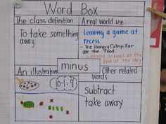 Here's an anchor chart that uses the Frayer Model to help students with vocabulary.
