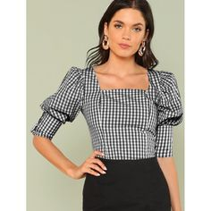 Sheinside Green Square Neck Weekend Casual Tops Office Ladies Gingham Leg-of-mutton Sleeve Button Top 2018 Women Summer Blouses Work Casual, Casual Tops, Casual Office, Office Wear, Leg Of Mutton Sleeve, Summer Blouses, Fashion Moda, Women's Fashion, Work Tops
