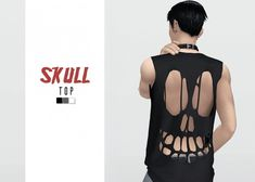 Skull Top by Waekey for The Sims 4