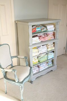Drawer-less dresser turned fabric storage in Paris Grey...would be great for quilt storage/display