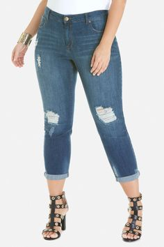 Plus Size Zoe Dark Wash Destructed Jean Fashion To Figure, Plus Size Outfits, Capri Pants, Skinny Jeans, Denim, Dark, Womens Fashion, Clothes, Shopping