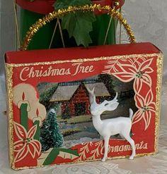 VINTAGE Mini Ornament Box Diorama Christmas Ornament Handmade WHITE DEER Tree ~  #Handmade Aqua Christmas, Christmas Past, Christmas Items, Handmade Christmas, Christmas Deer Decorations, Vintage Christmas Ornaments, Handmade Ornaments, Christmas Shadow Boxes, Ornament Box