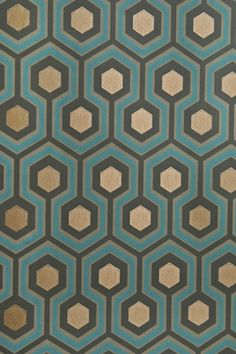 Accent wall in Master Bathroom - Hicks' Hexagon Wallpaper Small Geometric Design design wallpaper in Charcoal, Turquoise and Fawn with metallic copper embellishment. Bathroom Wallpaper Geometric, Hexagon Wallpaper, Copper Wallpaper, Modern Wallpaper, New Wallpaper, Designer Wallpaper, Pattern Wallpaper, Teal And Gold Wallpaper, Wallpaper In Bedroom