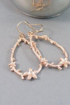 Twig And FlowerEarringsRose Gold EarringsRose by SeaMaidenJewelry, $27.00