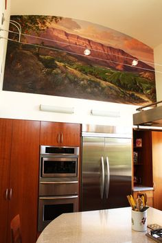 love the colors in this mural artist is Ruben Franco contemporary kitchen by Shannon Malone